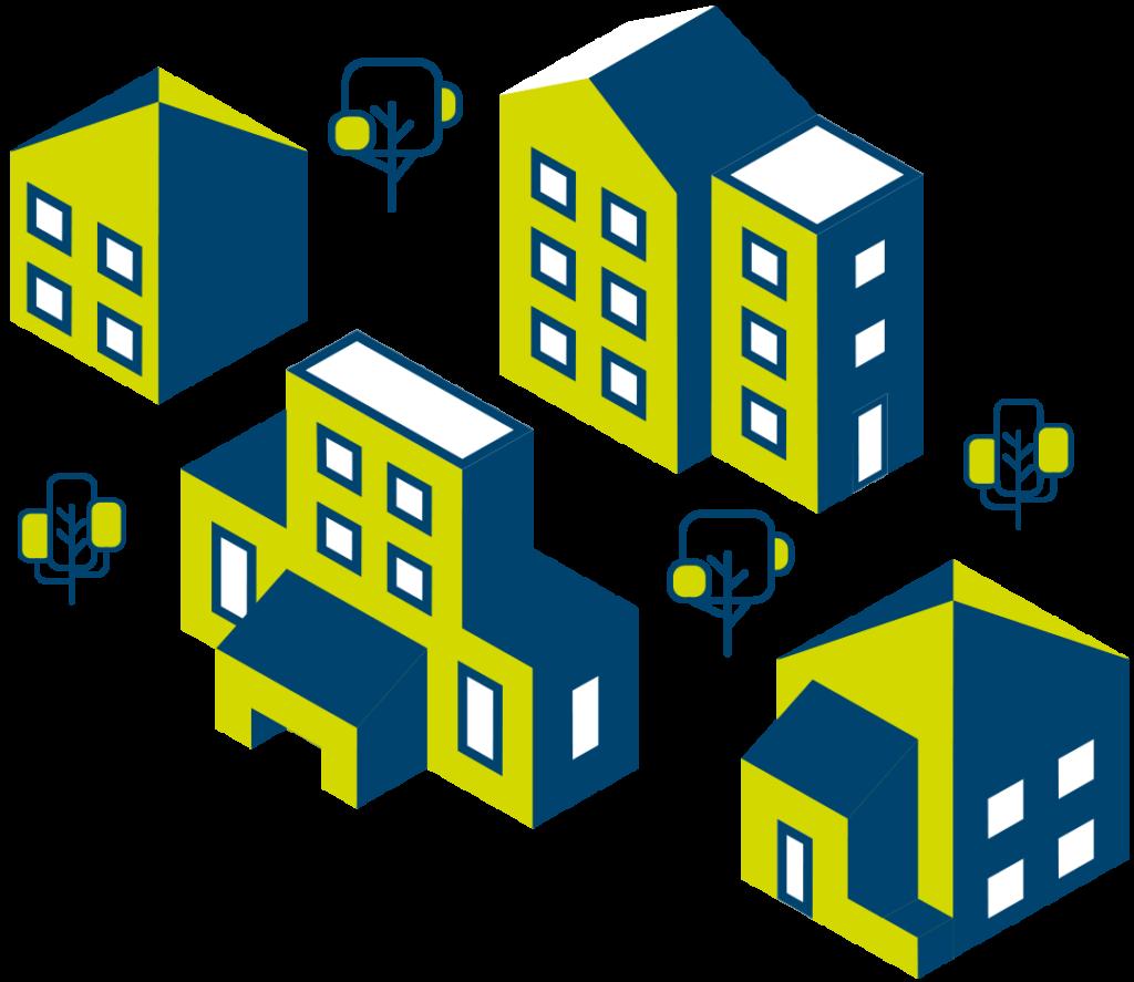 Illustration du GUIH représentant des bâtiments